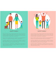 happy family poster people rising hands up poster vector image vector image