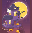 house with ghost bats and pumpkin halloween vector image