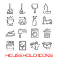 household icons thin line art vector image