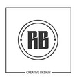 initial letter rb logo template design vector image