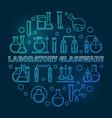 laboratory glassware blue round outline vector image