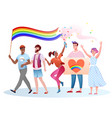 lgbt pride parade cartoon vector image