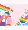 lgbtq community people holding rainbows flag and vector image