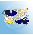 Little mouse boy aikido sketch vector image vector image
