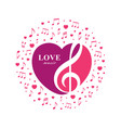 love music with treble and heart vector image vector image