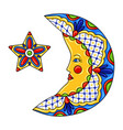 mexican ornamental moon and star vector image vector image