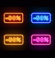 neon 50 off text banner color set night sign vector image vector image