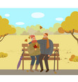 people sitting on bench in autumn park old couple vector image vector image