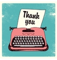 retro typing writer thank you card vector image vector image