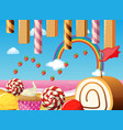 scene with strawberries and desserts vector image vector image