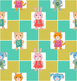 Seamless pattern with checks and babies vector image vector image