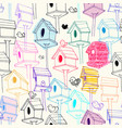 seamless pattern with colorfil birdhouse on vector image vector image