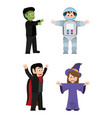 set funny costumes to halloween event vector image