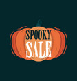 spooky halloween tittle on a pumpkin vector image vector image