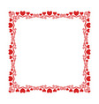 square frame with a luxury pattern of hearts vector image vector image
