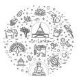 sri lanka vacation icons set icons vector image vector image