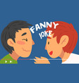 two men bloggers telling funny jokes online vector image vector image