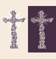 two silhouettes a christian cross with ornament vector image