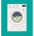 washing machine full of dollars banknotes vector image vector image