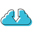 watercolor silhouette of cloud service with vector image vector image