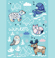 winter greeting card with cartoon north animals vector image vector image
