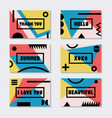 assorted pink blue and yelllow modern cards vector image