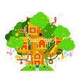 children treehouse colorful vector image