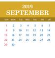 2019 calendar template - september vector image vector image