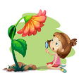 A girl holding a magnifying glass under a flower vector image vector image