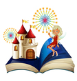 A storybook with a castle and a fairy vector image vector image