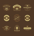 bakery logos and badges design templates set vector image