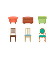 bedroom poufs and chairs set colorful comfortable vector image