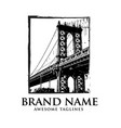 brooklyn bridge silhouette logo design vector image