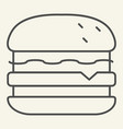 burger thin line icon hamburger vector image vector image