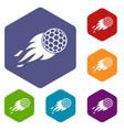 burning golf ball icons set hexagon vector image vector image
