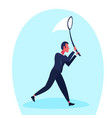 businessman holding butterfly net catch new idea vector image