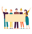 cartoon different characters people holding banner vector image vector image
