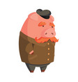 cartoon old pig with cap and mustache vector image vector image