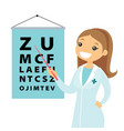 caucasian white ophthalmologist with eye chart vector image vector image