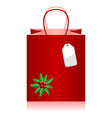 christmas shopping bag with tag over white vector image vector image