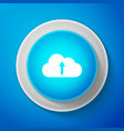 cloud upload icon isolated on blue background vector image vector image