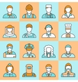 Colored Professions Avatars Line Icon Set vector image
