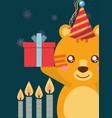 cute animal happy birthday vector image vector image