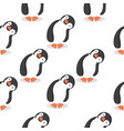 cute penguins cartoon pattern vector image