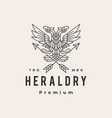 double headed eagle heraldry hipster vintage logo vector image vector image