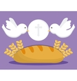 dove bread wheat ear icon graphic vector image vector image