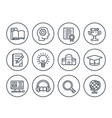 education learning line icons on white vector image