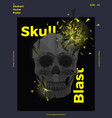 exploding polygonal skull abstract poster vector image