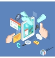 flat 3d isometric creative tablet mobile services vector image vector image