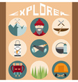 flat design icons of explorer and elements of hike vector image vector image
